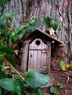 """Baggins"" Fairy Door, Fullford, Salt Spring Island, B. Fairy Garden Houses, Gnome Garden, Gnome House, Fairy Doors, Fairy Land, Faeries, Painted Rocks, Bilbo Baggins, Miniature Furniture"