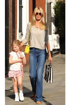 Stylish Model Mom Claudia Schiffer, the queen of casual chic when doing the school run with children Clementine, Cosima and Casper <3