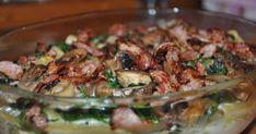 Opskrift til 4 personer.   3 kyllingefiler  2 store håndfulde spinat ( frossen kan også bruges)  200 g. friske champingnon  kogt pasta, vi...