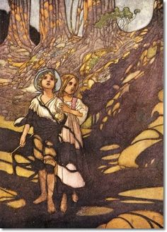 Hansel and Grethel in the forest. Illustration by Charles Robinson from 'The Big Book of Fairy Tales', in the woods William Blake, William Morris, Arthur Rackham, Hans Gretel, Laurent Durieux, Harry Clarke, Hansel Y Gretel, Fable, Brothers Grimm