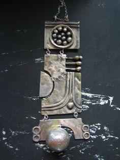 Tapio Korpisaari, Silver pendant, c.1968. #Finland Mixed Metal Jewelry, Bronze Jewelry, Modern Jewelry, Jewelry Art, Vintage Jewelry, Handmade Silver, Handmade Jewelry, Jewelery, Jewelry Making