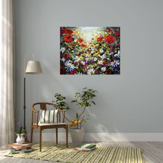 An original big colourful canvas painting full of poppies and wildflowers with golden light coming down from the sky. New breakthrough artist Andrew Alan Johnson. #large #creative #flower #artwork #buyart #artplode #poppies #interiordesign