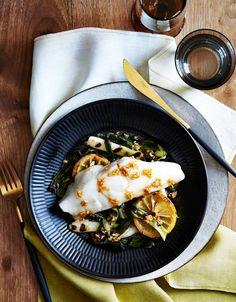 Gavin Kaysen's Recipe for Sea Bass With Charred Scallion Vinaigrette
