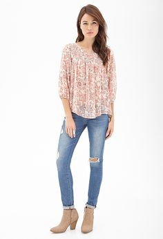 Pintucked Floral Print Top #F21Contemporary