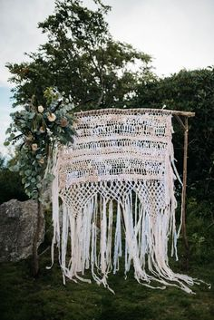 Kick your boho wedding style up a notch with these seven macrame wedding decor ideas like major macrame ceremony backdrops to sweetheart chair accessories. Wedding Ceremony Backdrop, Ceremony Arch, Wedding Ceremonies, Wedding Venues, Trendy Wedding, Boho Wedding, Bohemian Weddings, Elopement Wedding, Wedding Themes
