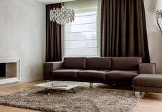 modern living room interior design dark brown sofa curtains shaggy rug low table