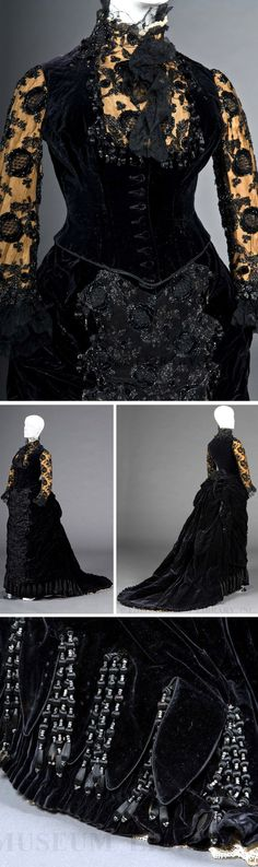 Reception gown, Worth, ca. 1878. Silk, lace, jet, velvet. FIDM Museum blog