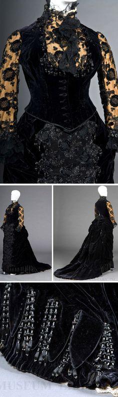 Reception gown, Worth, ca. 1878. Silk, lace, jet, velvet. FIDM Museum blog