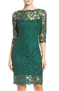 Love this in navy blue...Tadashi Shoji Embroidered Lace Sheath Dress available at #Nordstrom