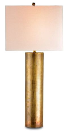 "Constable Table  Lamp | Currey and Company34""H x 15""W.  Vintage brass.  Bone Linen shade.  1x 150watts. Great, elegant lamp"