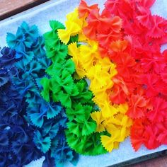 DIY Rainbow Pasta - a brilliant simple & inexpensive crafting activity- which you can use in a whole bunch of other different crafts!   How would you use these?! We made a rainbow mobile added them to a sensory bin and as decorations for paper mache...  How-to here: http://ift.tt/1tfM7jP #kidscrafts #kidsactivities #rainbows