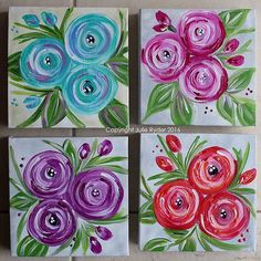 4 15 x flowery canvas Fabric Painting, Diy Painting, Painting & Drawing, Acrylic Painting Flowers, Beginner Painting, Painting Tutorials, Mini Canvas Art, Diy Canvas, Acrylic Canvas