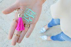 Monogrammed tassel keychain from Pineapple Proper