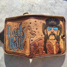 Completely handmade, handstitched one of a kind billfold leather wallet - Lemmy Kilmister / Motörhead Star Buttons, Rockn Roll, Slim Wallet, Designer Boots, Hand Stitching, Cowboy Boots, Leather Wallet, Brass, Handmade