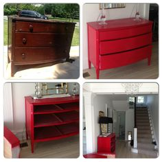 Chinese red entry hall chest that pops. Word to the wise don't paint in 100+ heat. New pulls to come. #diy #chinesered #popofcolor #entryhall #montclair #alfair #beforeandafter #design #homedesign #paint #interiordesign