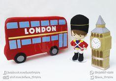 Ônibus, soldado e bigbang de feltro 30cm. Tags: London, bus, Londres, vermelho…