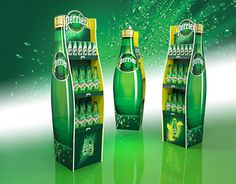 Perrier water display on Behance Drink Display, Shop Display Stands, Pos Display, Bottle Display, Store Displays, Display Design, Display Shelves, Cool Retail, Exhibition Stand Design