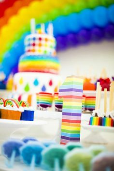 Decorations at a rainbow party #rainbow #party #decor