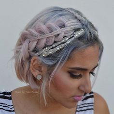 Stacked Braid- Pastel Pink Hair with Pink Pewter headband