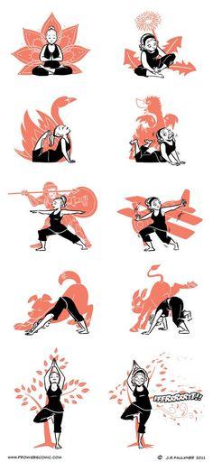 Awesome yoga poses - cartoon yoga poses with nice cartoonish character. Awesome yoga poses – cartoon yoga poses with nice cartoonish character… Yoga Fitness, Sport Fitness, Funny Fitness, Ayurveda, Yoga Inspiration, Fitness Inspiration, Asana, Namaste, Fitness Motivation