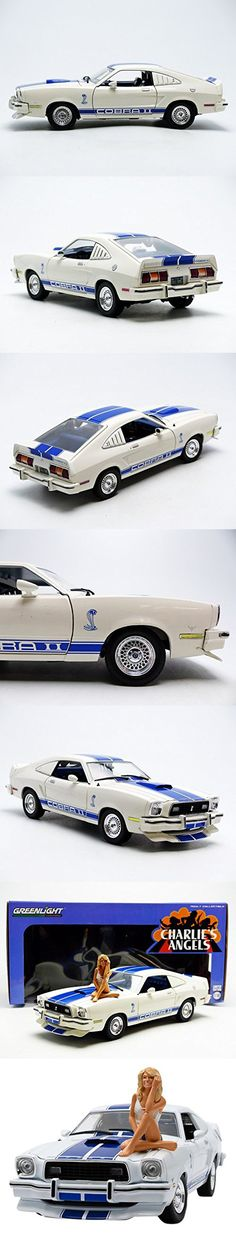 GreenLight Collectibles Charlie's Angels 1976 Ford Mustang Cobra II White/Blue Vehicle with Farrah Fawcett