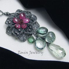 Original Lace Flower Necklace  Pink Tourmaline Green by xinxinemin