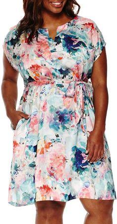 Plus Size Floral Caftan Dress