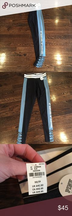 VS PINK strappy leggings size XS gray/blue NWT Victoria's Secret PINK strappy leggings size XS in grey/blue. This color is not available online . PINK Victoria's Secret Pants Leggings