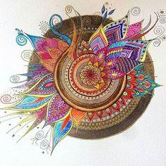 la - We love this mandala by Mandala Doodle, Mandala Art, Mandala Drawing, Doodle Art, Mandala Design, Adult Coloring, Coloring Books, Zen Art, Dot Painting
