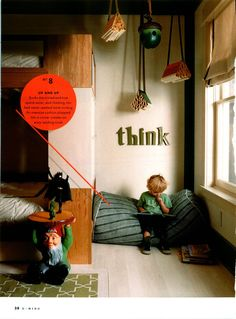 """kid reading nook. I like the word """"think"""" above reading area."""