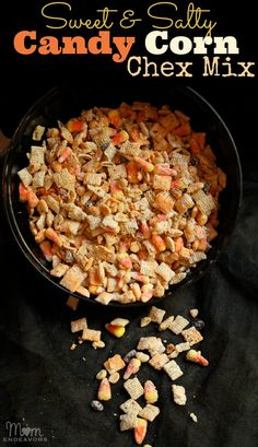 Candy Corn Chex Mix via momendeavors.com. A great sweet & salty treat!