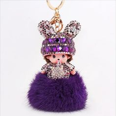 WAKACARA MONCHICHI fantastic bling bowknot hat rabbit furball keychain pendant for handbag car charms keyring Cute Keychain, Keychains, Charm Jewelry, Jewelry Sets, Fur Pom Pom, Rabbit Fur, Jewelry Branding, Women Accessories, Handmade