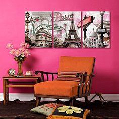 Framed Pink Paris Eiffel Tower Romantic Canvas Art Prints Picture Wall Home Deco #ArtDeco