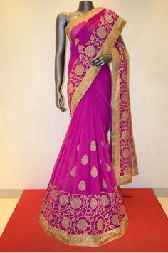 Party Wear Dark Pink Chiffon Embroidery Saree Product Code: SSJG03601