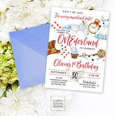 Onederland Wonderland Alice in Wonderland Printable Party Invitation Mad Hatter Red Queen Cards Tea Party Follow the Rabbit First Birthday