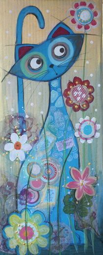 Blue Cat art print by Johanna Virtanen (would be a cute quilt -love the blues and pinks)