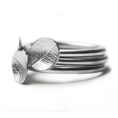 Element Jewellery - Silver small leaf rings