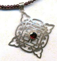 Sterling Silver Mandala Nepal Mandala Garnet Necklace by Annaart72, $95.00