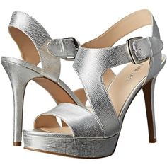 Nine West Saynomore (Silver Metallic) High Heels (660 MXN) ❤ liked on Polyvore featuring shoes, sandals, silver, platform sandals, nine west shoes, platform shoes, ankle strap high heel sandals and silver shoes
