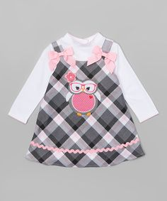Youngland Gray & Pink Plaid Owl Jumper & Tee - Infant, Toddler & Girls | zulily