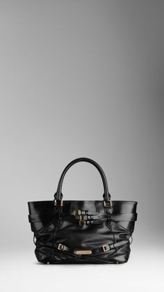 1465d58f934 Burberry Medium Bridle Leather Tote Bag in Black   Lyst Black Leather Tote  Bag, Burberry