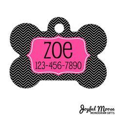 New to JoyfulMoose on Etsy: Personalized Dog Tag - Dog ID Tag - Personalized Bone Dog Tag - Pet Gift - Custom Pet ID Tag - Pink Chevron Black (9.75 USD)