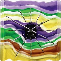 Fused Art Glass Wall Clock Maestro Home & Kitchen