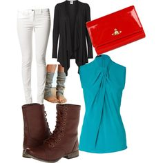 Classic white jeans with combat boots and boot socks. Love the flower sweater with the blue top and the red pop of color clutch.