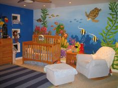 Ocean Theme Nursery, I hired an artist for the mural but my husband and I picked the rest to go with the colors. I thought I was going to stay in this house for a long time so I wanted to do something that a 1 year old or a 7 year old would enjoy. I just sold this home and it breaks my heart so I wIll be hiring this artist again for my sons new bedroom., Nurseries Design