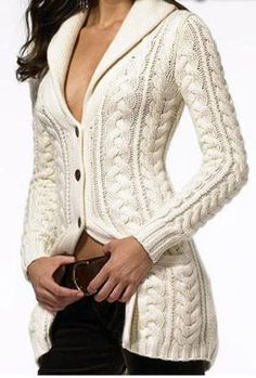Women's Hand Knitted Wool Cabled Cardigan 8D