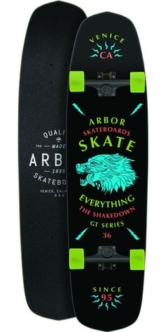 "Arbor Shakedown GT 36"" Longboard Skateboard Complete - 2014 The Shakedown is one of the most versatile boards on the market. You can shred your way down some steep terrain with some soft wheels, or skate the park with some hard wheels. This board features kicktails to help you maneuver your way around pedestrians, poodles, and puddles"