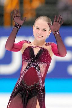 Alexandra Trusova of Russia waves after competing during the figure skating Japan Open at the Saitama Super Arena on October 2019 in Saitama, Japan. Get premium, high resolution news photos at Getty Images Gymnastics Pictures, Sport Gymnastics, Figure Skating Costumes, Figure Skating Dresses, Inline Skating, Ice Skating, Kim Yuna, Gym Leotards, Ice Dance