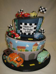 Amy Beck Cake Design - Chicago, IL - Cars 2 birthday cake - #amybeckcakedesign 2 Birthday Cake, Birthday Ideas, Occasion Cakes, Custom Cakes, Amazing Cakes, Little Boys, Fondant, Special Occasion, Amy