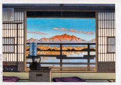 画は 川瀬 巴水(かわせ はすい) 1883年(明治16年)~ 1957年(昭和32年) 大正・昭和期の版画家、「昭和の広重」などと呼ばれる。 作 「湯宿の朝 塩原新湯」